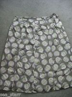 AMANDA SMITH GRAYISH GREEN KHAKI SILK SKIRT IVORY CIRCLES DOTS XL 16 FLOWY