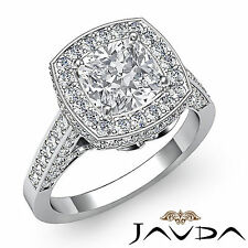 Cushion Shape Diamond Engagement Unique Ring Gia H Si1 14k White Gold 2.3 ct
