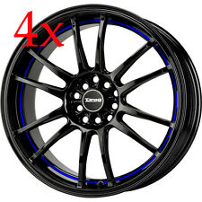 Drag Wheels DR-38 17x7 5x100 5x114 Black w/ Blue Stripe Rims For Celica Mazda3