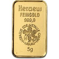 Lingot or 5 grammes or pur 24 carats 999,9/1000 Heraeus gold bar 5 gr