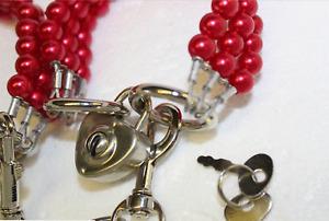 Classsy Red Pearl Bondage Wrist cuffs set restraint high tensile steel + locks