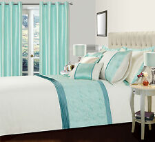 DUCK EGG BLUE & CREAM SUPER KING BED DUVET COVER SET WITH FLORAL QUILTED DETAIL