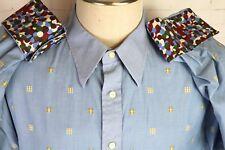 Robert Graham mens 2XL long sleeve shirt blue yellow white, spotted flip cuffs