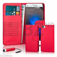 32nd Book Wallet PU Leather Case for XIAOMI Mi5 Screen Protector & Stylus Red