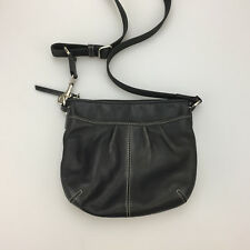Coach Black Leather Pleated Crossbody Swingpack Handbag Shoulderbag Purse