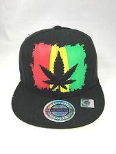 Rasta Ganja Weed Cannabis Leaf  Snapback Cap Hat