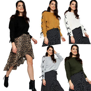 Ladies Lace Up Detail Knitted Jumper Womens Ribbon Lace-up Sleeve Party Top