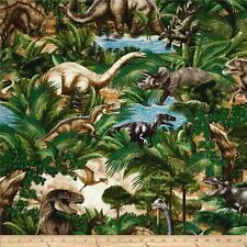 Fat Quarter Jurassic Jungle Dinosaurs 100% Cotton Quilting Fabric - C1545 Green