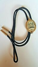Clinton Falls Bridge In Gold Tone Frame Vintage Bolo Tie With Resin Oval 1894