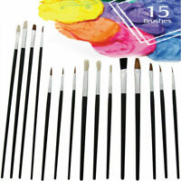 15 X🔥 Artists Paint Brush Set Small & Large Round Tipped Art Painting Kit Craft