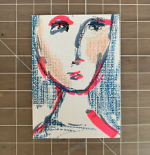 """Original ACEO Acrylic Abstract Lady Portrait Mixed Media Painting 2.5x3.5"""""""