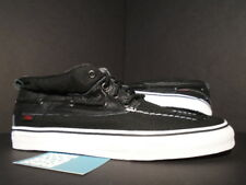 VANS CHUKKA DEL BARCO LX VAULT BOAT SHOE C&L CANVAS LEATHER BLACK WHITE RED 11.5