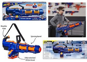 NERF Elite Titan CS 50 Blaster With 50 Official Darts Ages 8+ Toy Gun Fire Play
