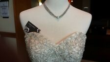 """Necklace 16"""" with 2"""" extender 9-Strand Crystal Pendant Studded Silver"""