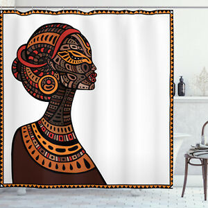 Afro Shower Curtain Tribal Exotic Totem Mask Print for Bathroom