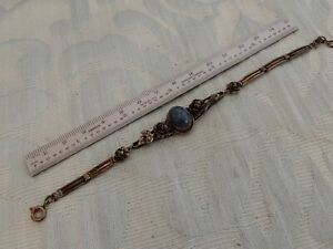 """Hand made Vintage """"Roses"""" Silver & Lapiz Bracelet, from an old collection bought"""