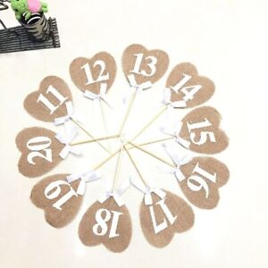 20PCS Hessian table numbers 1-10/11-20 Linen Heart Rustic Wedding Vintage Shabby