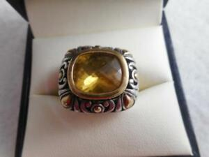 Huge John Hardy 925 & 18k pierced swirl & faceted 5 carat citrine ring - size 6