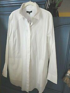 Lafayette 148 New York White Stretch Shirt Tunic w/Pockets 14 16 18 XL