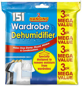 Hanging Wardrobe Dehumidifier Stop Damp Anti Mould Mildew Moisture Condensation