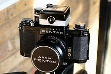 Black Asahi Pentax S1a w/meter, case, 55mm f2 Super-Takumar, 135mm f3.5 Takumar