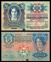 AUSTRIA  -Hungary  Empire krone - 20 zwanzig kronen - 1913 -WW I P13 Banknote