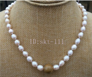 18 inch Natural Freshwater Pearl 13mm brown A Jadeite Jewelry Necklace 7-8MM