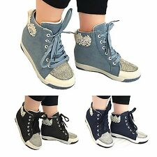 Clearance: GIRLS  AND LADIES DENIM HIDDEN WEDGE TRAINERS SNKAKER PUMPS  SHOES