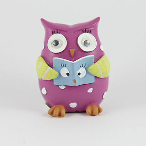 Figurine Owl Googly Eyes Purple Blue Book New