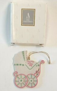 Avon Baby Carriage Ornament First Christmas 1992 Fine Collectibles Porcelain