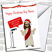 Funny Jesus Party Personalized Christmas Card