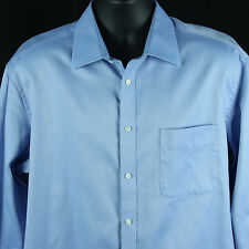 Ike Behar Mens 17 33 Button Front Dress Shirt Blue Long Sleeve Extra Large