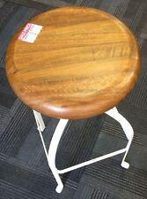 Vichenze Bar Stool - Mango Wood seat on white legs - winding bar from 62 - 76 cm