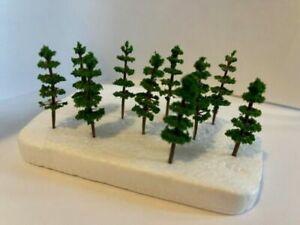 10x Model Evergreen Trees, Dark Green, Scenery, Train Railway. OO/N-Gauge, Scale