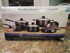 Mainstays 10 Piece Teflon Cookware Set Black Aluminum Home Kitchen Cooking