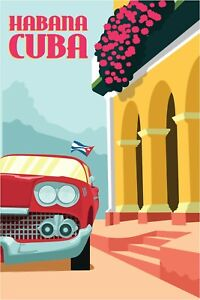 Cuba Print City Glossy Canvas Wall Poster Travel Decoration Home Size A4 UK