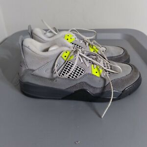 Jordan 4 Retro 95 Neon Youth Size 2Y Shoes Gray/Black Low Top Athletic Sneakers