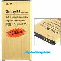 Batteria Da 4200Mah SAMSUNG GALAXY S5 SM-G900 POTENZIATA MAGGIORATA NUOVA GOLD