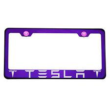 Laser Engraved Tesla Blue Purple Chrome License Plate Frame T304 Stainless Steel