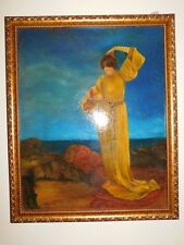 Painting of woman in robe on seashore Princess Leia portrait 33 X 27 wood frame