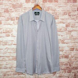 Butter Cloth Men's Button up Shirt White with mini Squares print Size 3XL Reg