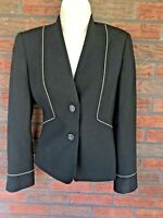 Vintage Mary Kay Blazer Size 0 Black White Wool Jacket Lined Shoulder Pads Caree