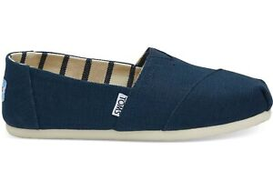 TOMS Women's Classic Majolica Blue Heritage Canvas Slip On Shoes