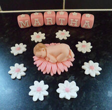 PERSONALISED EDIBLE BABY GIRL CHRISTENING, BABY SHOWER CAKE TOPPER DECORATION