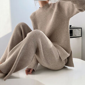 Womens Trousers Suits Wide Legs 2pcs Oversize Knitted Sweater Loose Split Casual