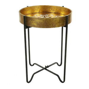 Vitale Luxury Gold Hand Carved Side Table Wood Carving End Table