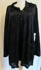 Notations Black flocked print rayon/poly button shirt 2X *FREE SHIPPING* New