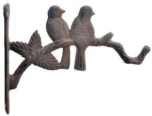 "Love Birds Cast Iron Decorative Plant Hanger Flower Basket Hook 10"" Deep Decor"