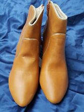 """UK4 Euro 37 E-VIE Tan Brown Faux Leather Fashion Ankle Boots Shoes 3.5"""" Heels"""