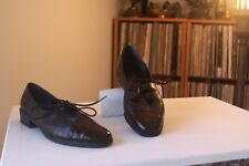 David Tate Brown Leather Faux Croc Cap Toe Ghillie Style Oxfords Size 8.5 Wide
